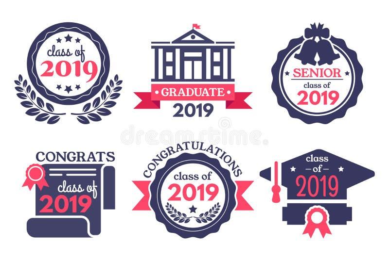 大学生徽章 祝贺毕业生、毕业典礼举行日徽章和学校毕业传染媒介例证集合 库存例证