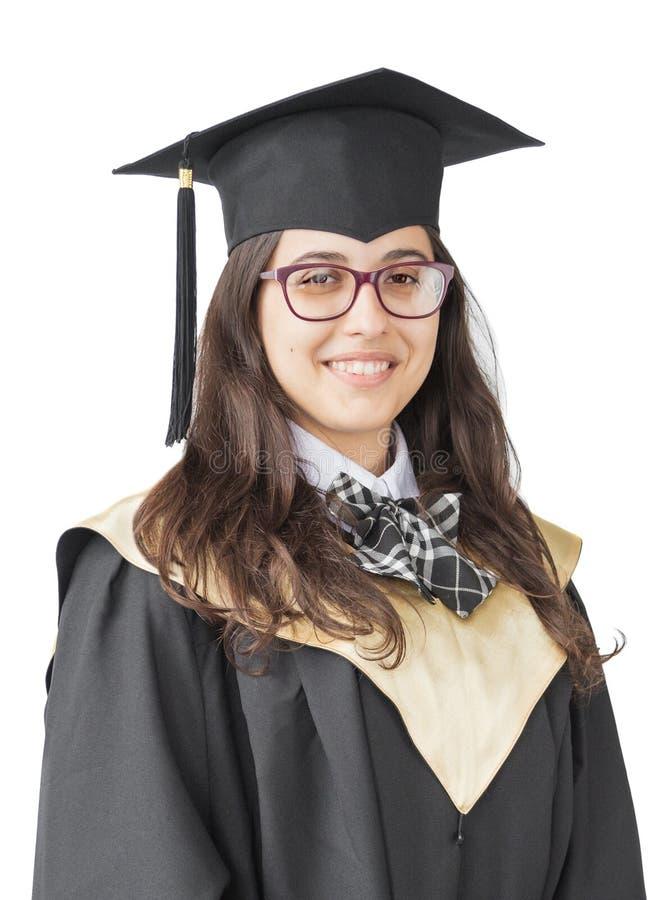 大学的女孩毕业生白色背景的 免版税库存图片