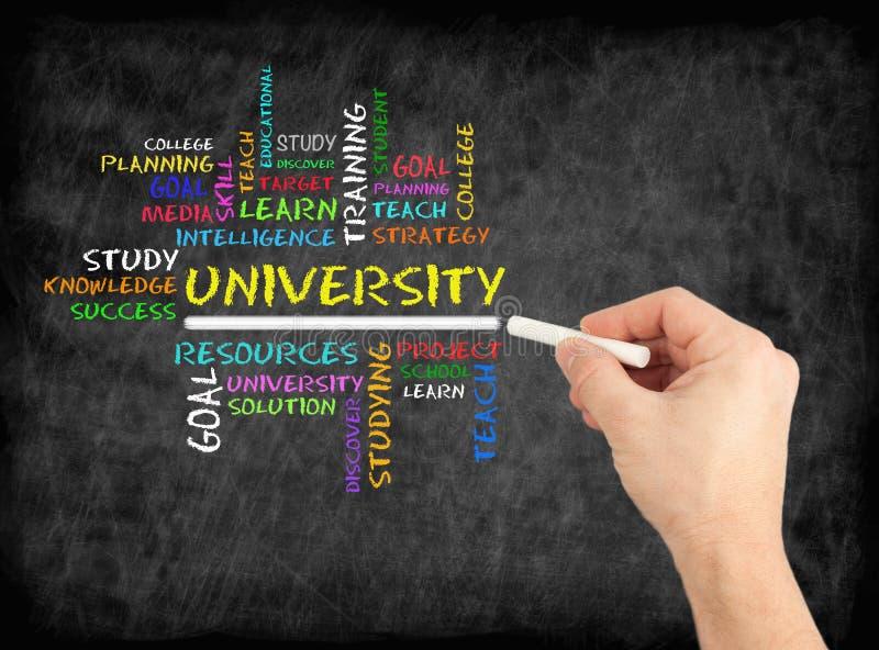 大学词云彩,在黑板的教育概念 免版税库存照片