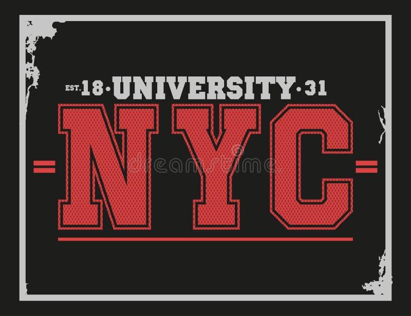 大学,学院纽约印刷术, T恤杉图表 皇族释放例证