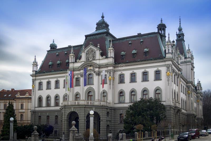 大学主楼在卢布尔雅那 库存图片