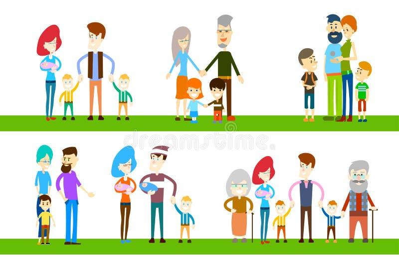 大家庭儿童父母祖父母一代 皇族释放例证