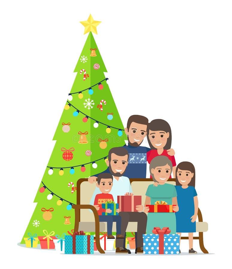 大家庭在与礼物的圣诞树附近聚集了 库存例证