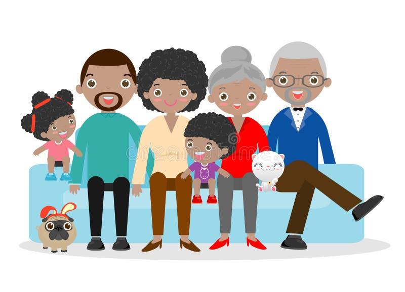 大家庭坐在白色背景的沙发,祖父,祖母,母亲,父亲,女孩,男孩 向量例证