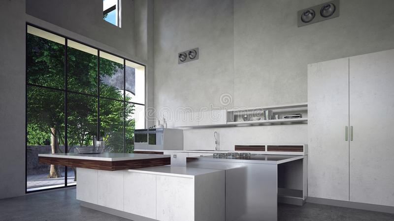 大宽敞现代豪华厨房内部 向量例证
