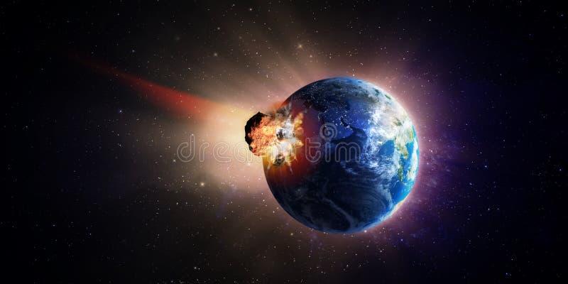 大小行星击中的地球 向量例证