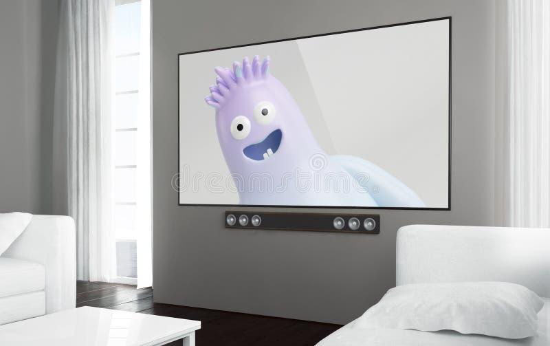 大屏幕电视电视孩子展示 库存例证