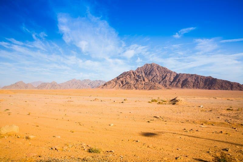 大山在沙漠 库存图片