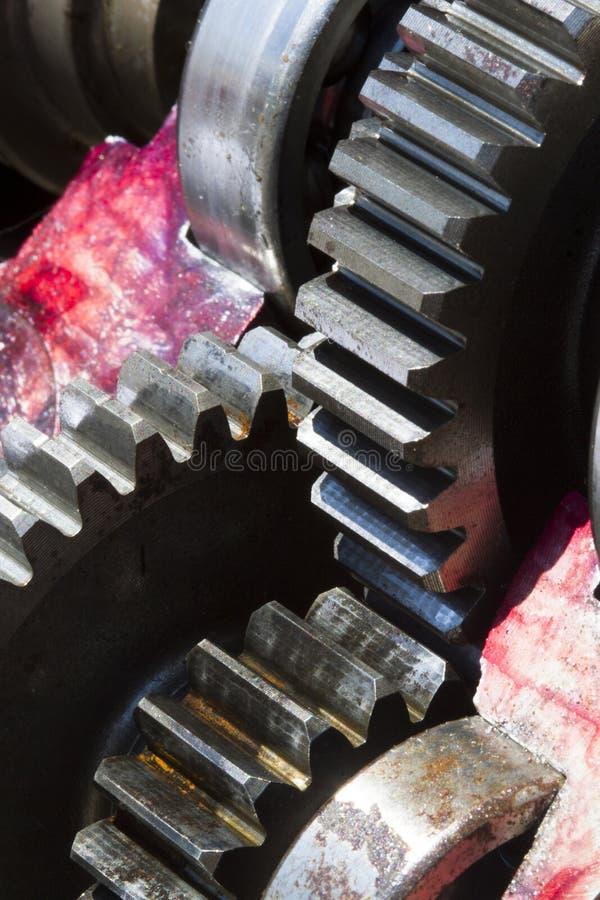 大嵌齿轮把马达引入 库存图片