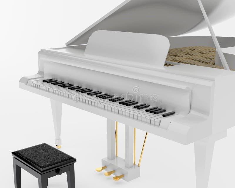 大平台钢琴白色 库存例证