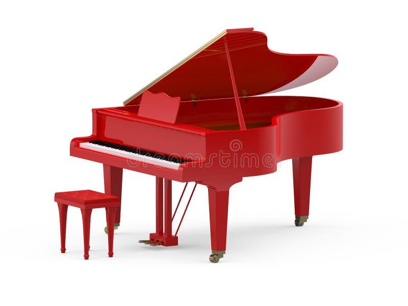大平台钢琴红色 皇族释放例证