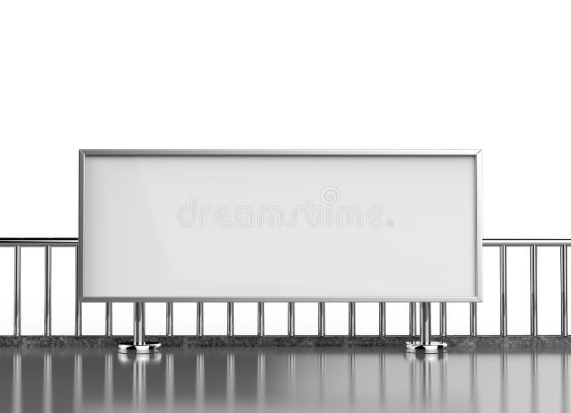 大广告水平的空白的白色点燃了在地铁车站平台的广告牌海报 3d例证回报 库存例证