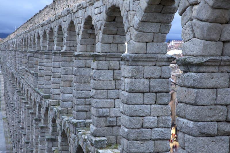 大广场和罗马渡槽塞戈维亚西班牙看法  免版税库存图片