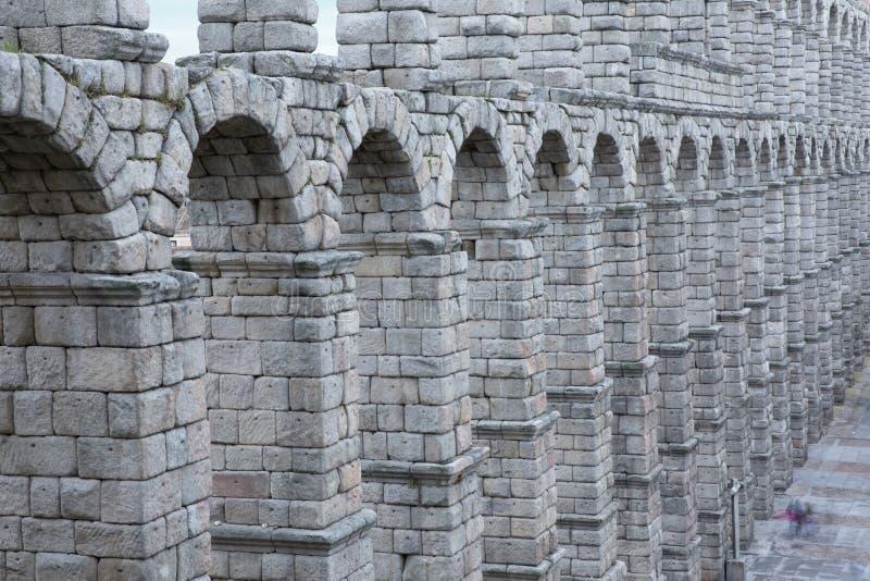 大广场和罗马渡槽塞戈维亚西班牙看法  库存照片