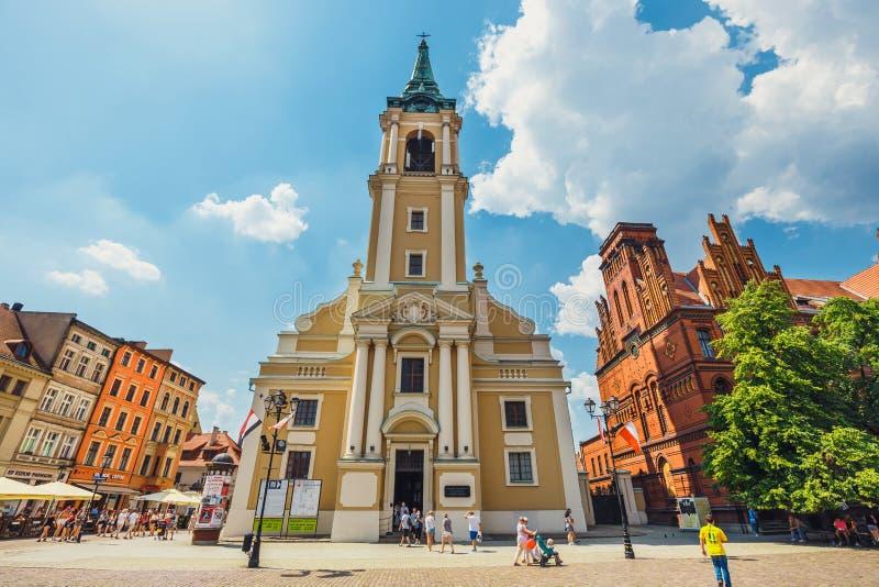 大广场在托伦老镇  托伦是天文学家尼古拉・哥白尼的出生地 免版税库存图片