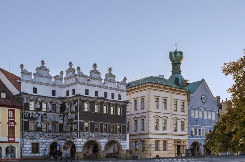大广场在Litomerice,捷克共和国 免版税库存照片