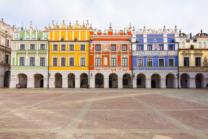 大广场在Zamosc,波兰 免版税库存图片