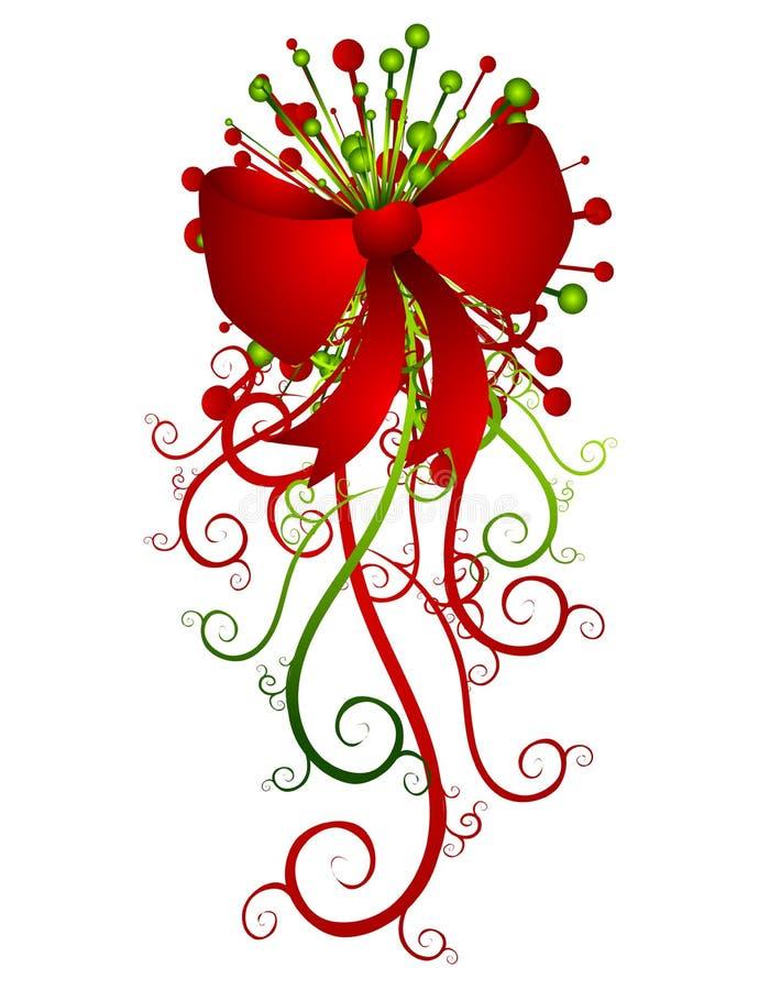 大弓圣诞节红色丝带 皇族释放例证