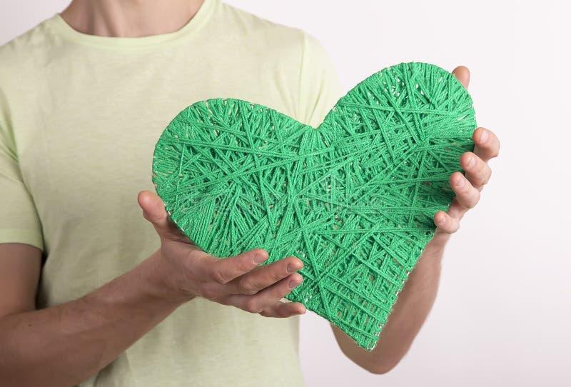 大心脏绿色情人节 免版税库存图片