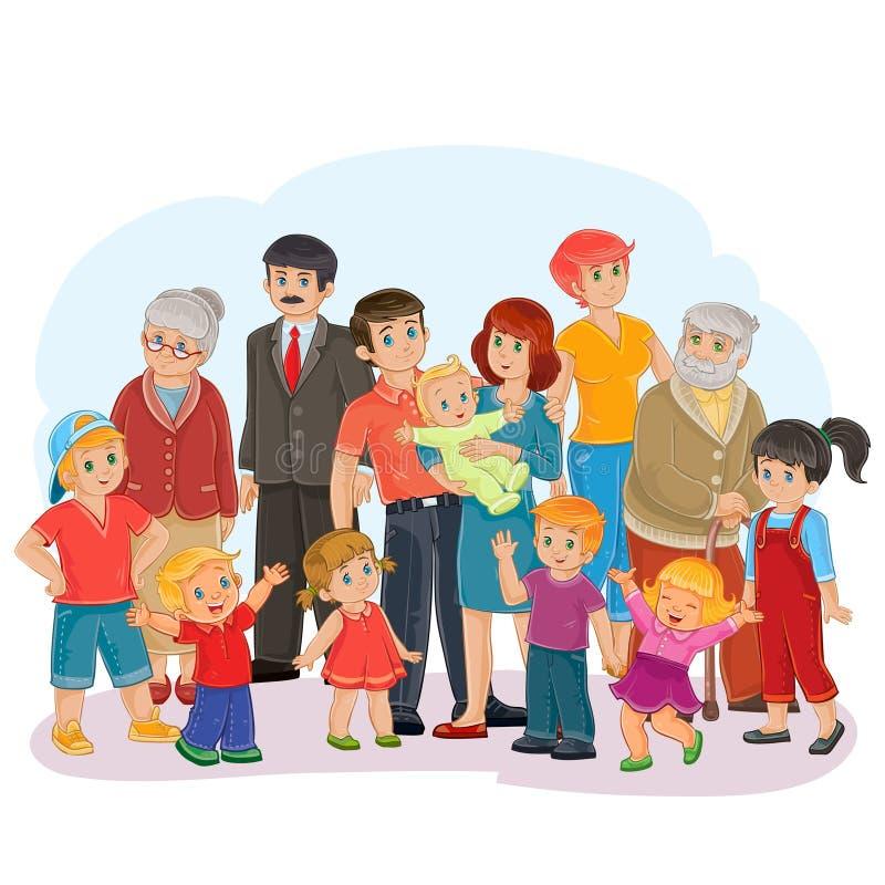 大愉快的家庭-曾祖父、曾祖母、祖父、祖母、爸爸、妈妈、女儿和儿子 向量例证
