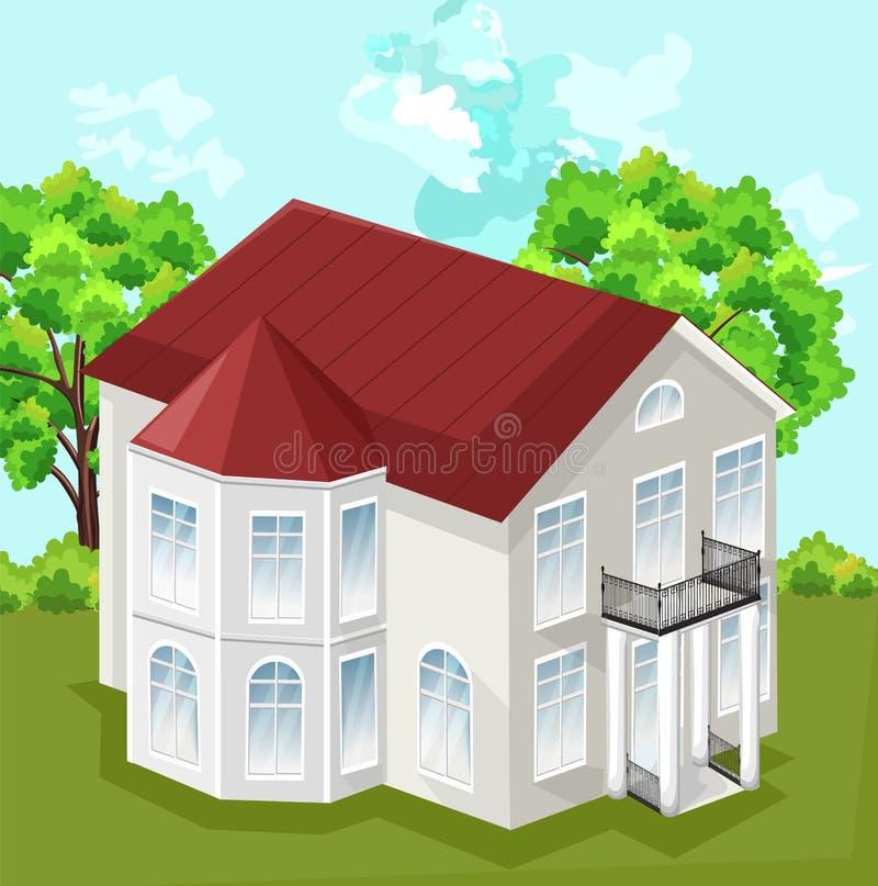 大房子传染媒介 白色与2个地板的房子经典样式 皇族释放例证