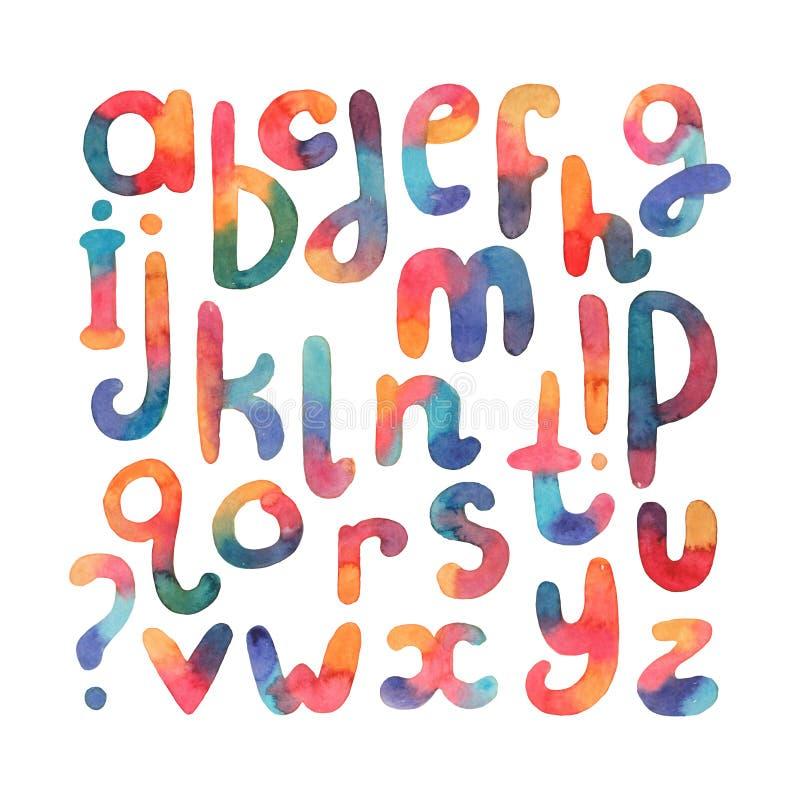 大手拉的水彩字体 Abc在序列上写字从A到Z 在reonded肥满形状的小写徒手画的信件,得出与 皇族释放例证