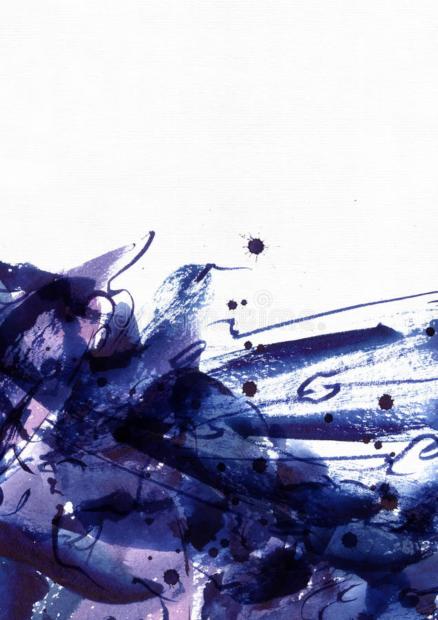 大抽象水彩背景 生动的蓝色和紫色徒手画的刷子污点、小点和斑点在坚实纹理在粒状白色 免版税库存照片