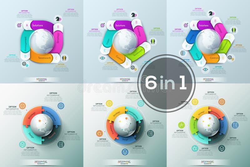 大捆绑与五颜六色的难题在地球附近被安置的片断和长方形元素的6张圆的图 特点  向量例证