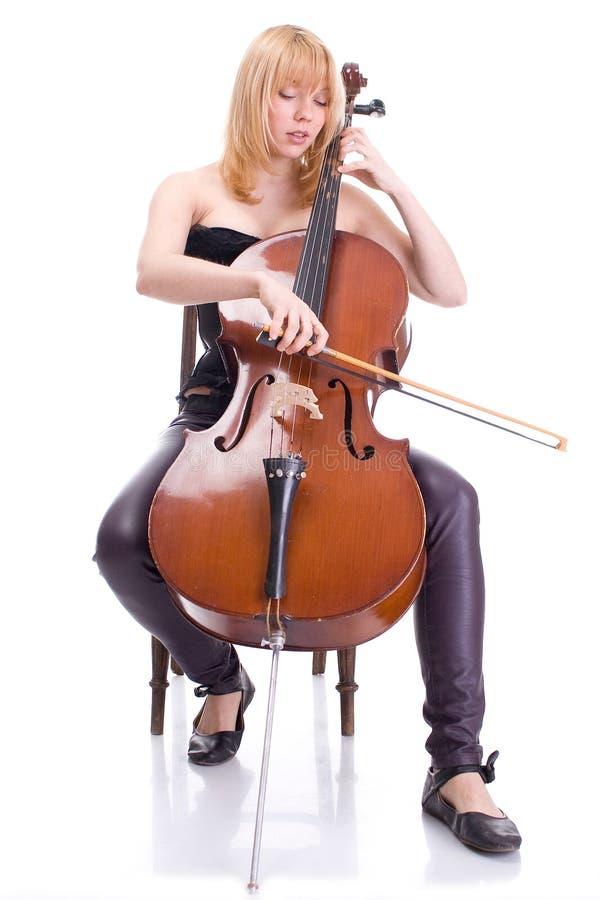 大提琴女孩 库存图片