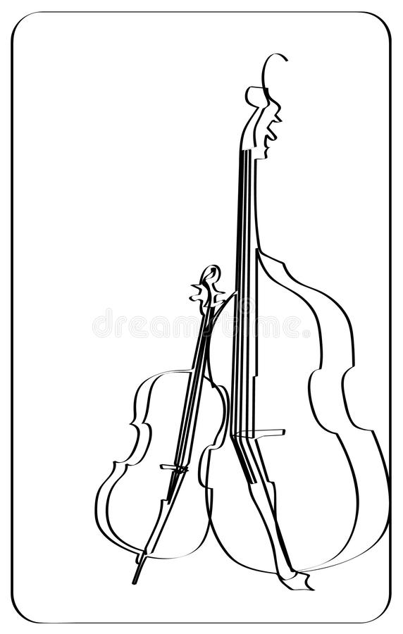 大提琴小提琴 库存照片