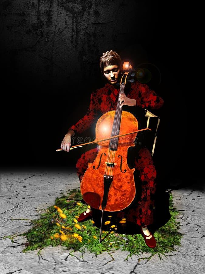大提琴手 向量例证