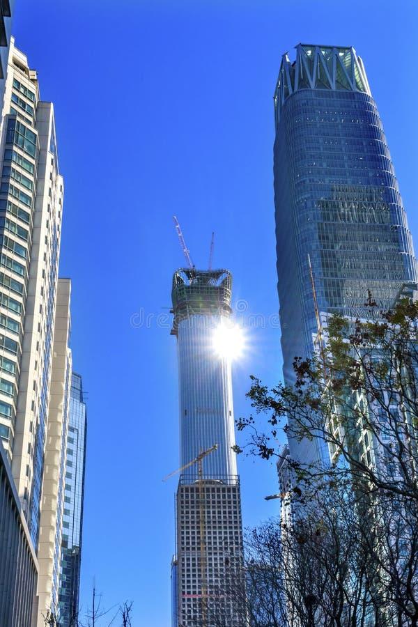 大摩天大楼世界贸易中心Z15太阳塔北京中国 库存照片
