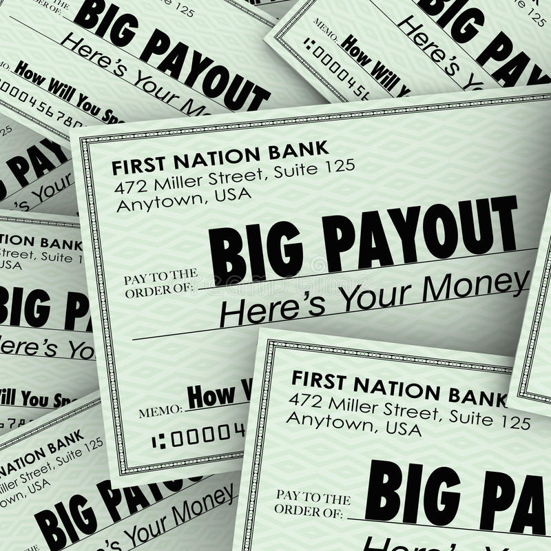 大支出许多检查富有的富裕的金钱堆 向量例证