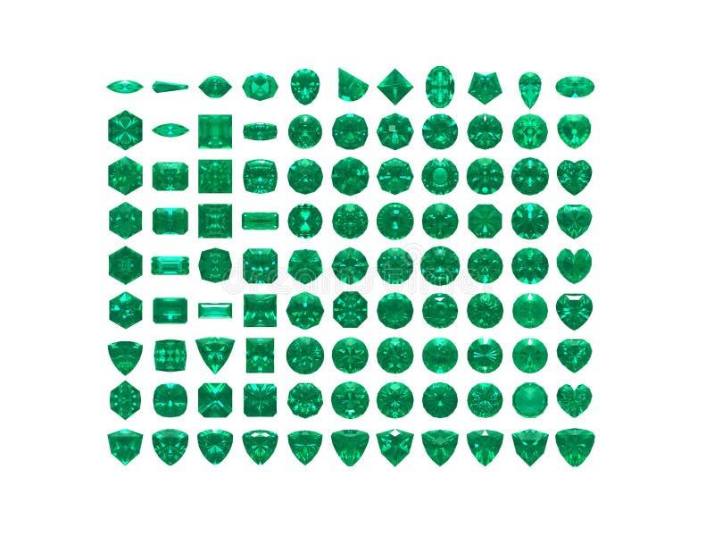 大收集绿宝石查出的白色 向量例证