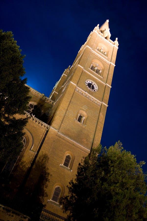 大教堂中世纪晚上 图库摄影