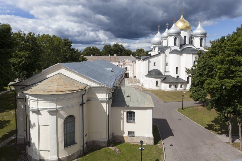 大教堂中心城市基辅圣徒sophia乌克兰 Velikiy Novgorod 俄国 免版税库存图片