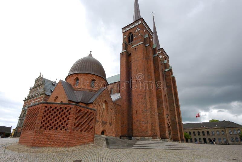大教堂丹麦外部罗斯基勒 免版税库存照片