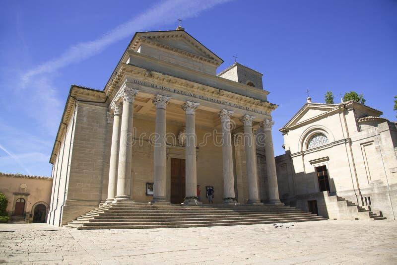 大教堂二圣马力诺 圣马力诺共和国的天主教会,建造在新古典主义的样式 免版税库存图片