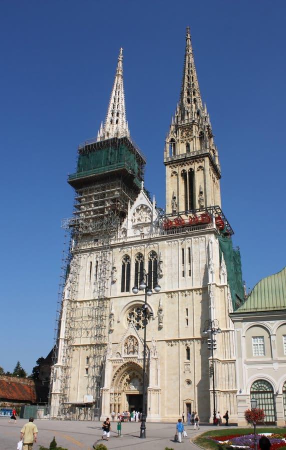 大教堂克罗地亚萨格勒布 免版税库存照片