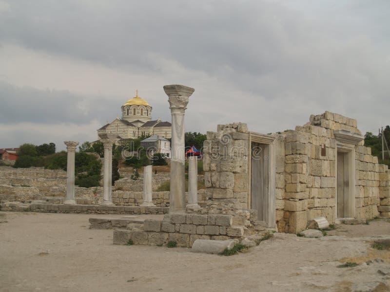 大教堂克里米亚hersones废墟 库存图片