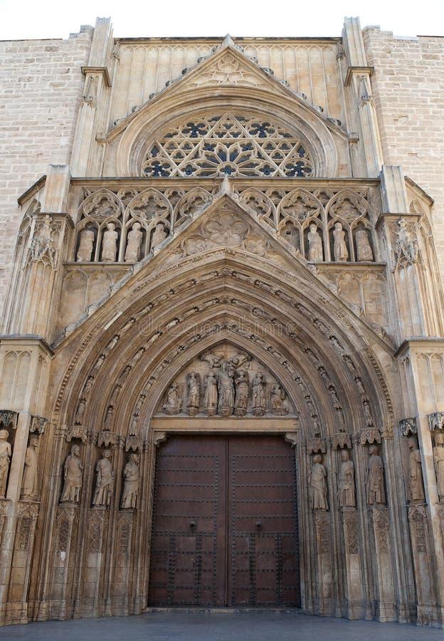 大教堂入口后方向巴伦西亚 库存照片