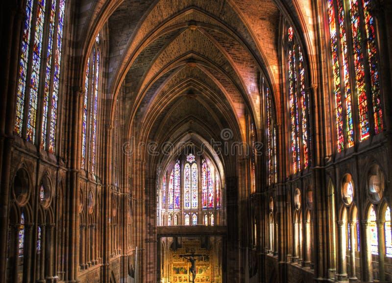 大教堂哥特式里面利昂 免版税图库摄影