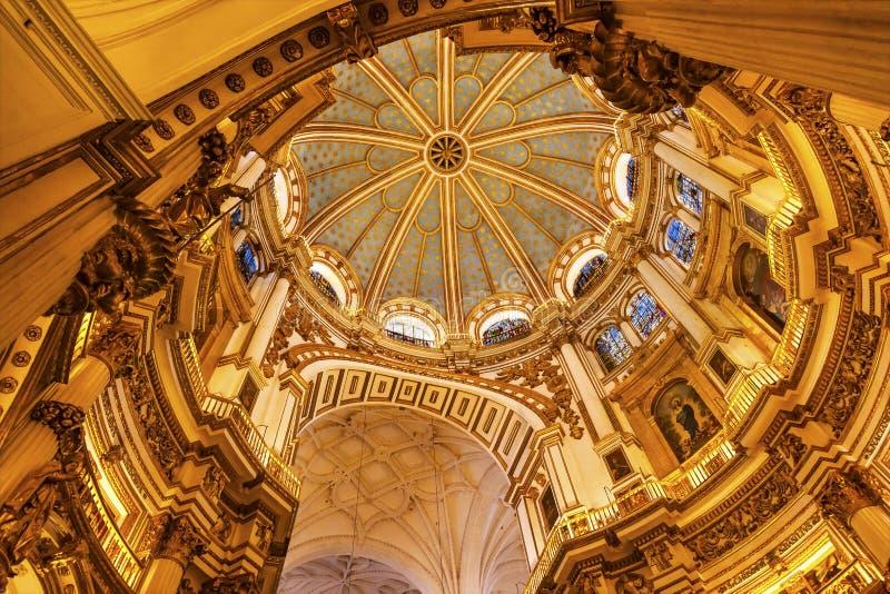 大教堂圆顶彩色玻璃大教堂安大路西亚格拉纳达西班牙 库存图片