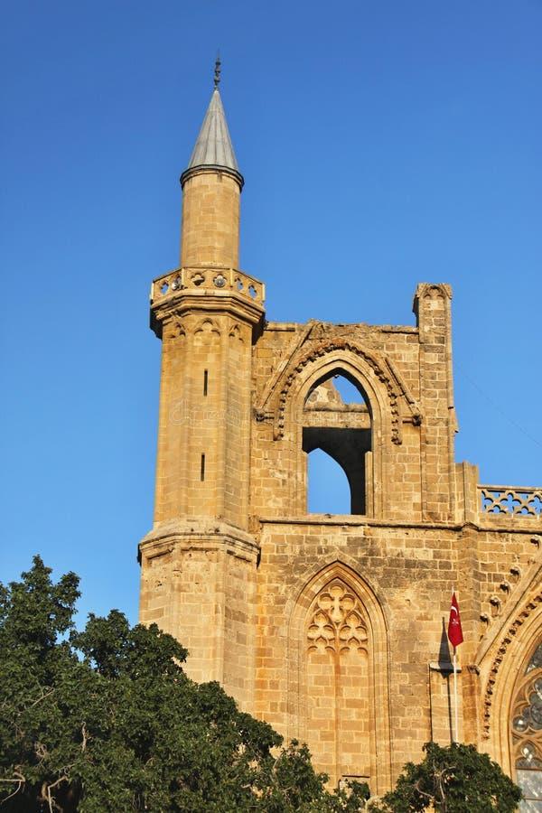 大教堂圣尼古拉斯,现在穆斯塔法巴夏清真寺,法马古斯塔,北部塞浦路斯 库存图片