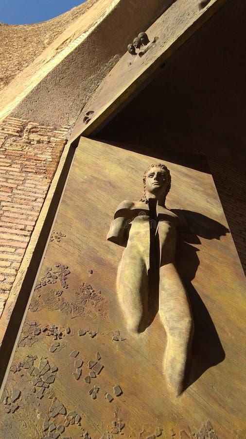 大教堂圣玛丽亚degli在门的Angeli e Dei Martiri雕塑,广场Republica,罗马拉齐奥,意大利2016年 库存照片