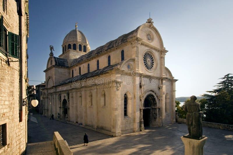 大教堂圣詹姆斯(Sv Jakov)在Sibenik,克罗地亚 免版税图库摄影