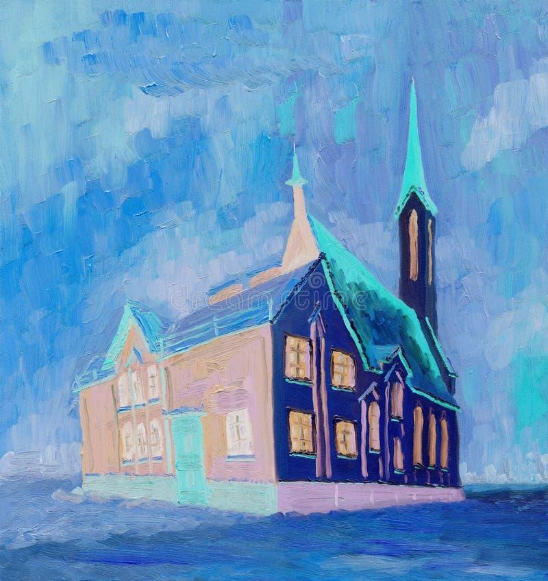 大教堂在一个多云冬日 库存例证