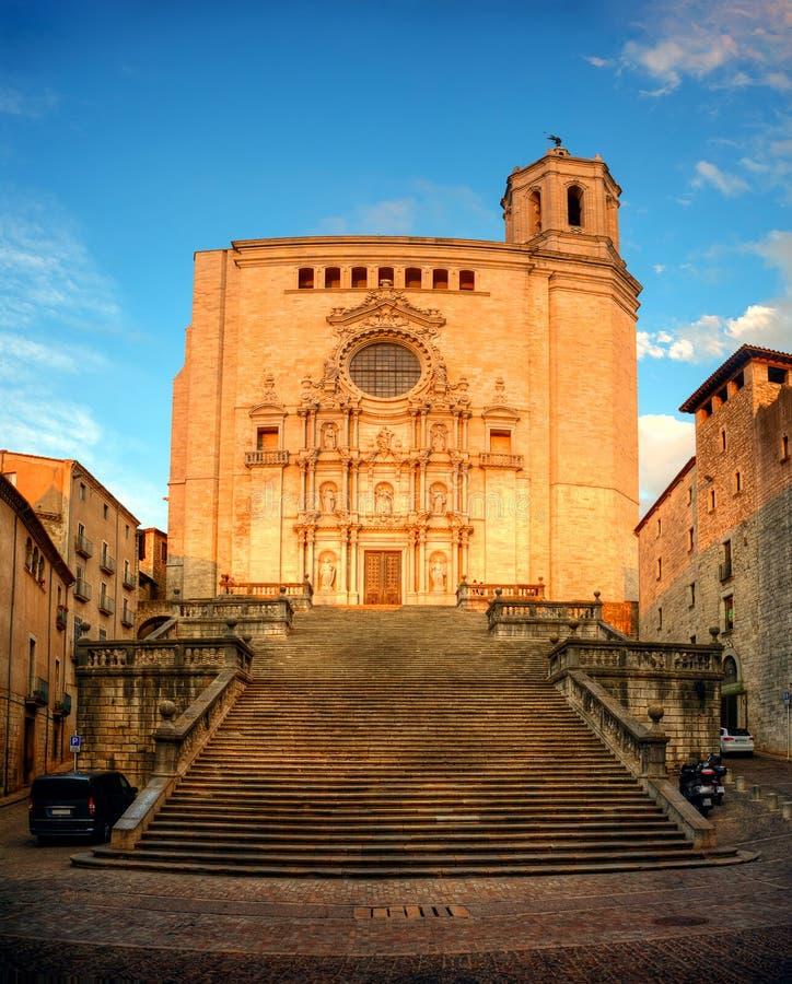 大教堂在希罗纳,卡塔龙尼亚,西班牙 免版税图库摄影