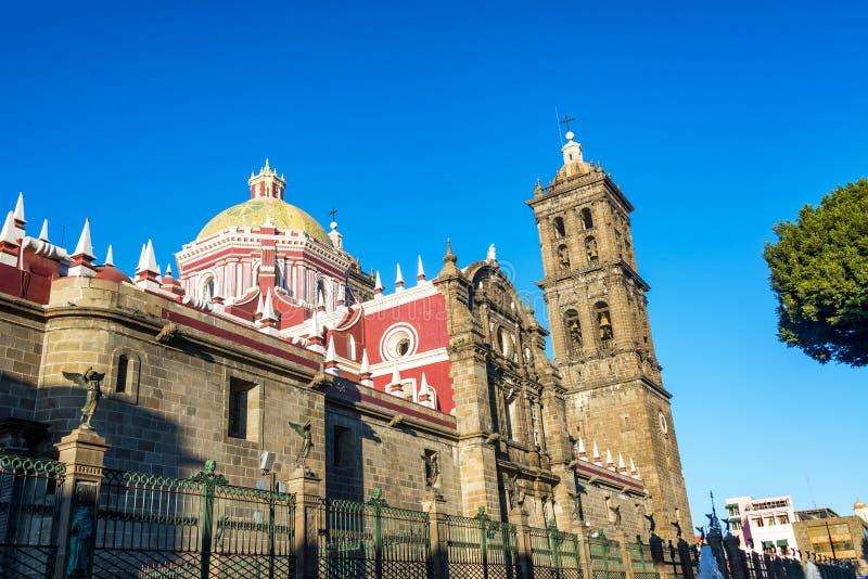 大教堂在普埃布拉,墨西哥 图库摄影