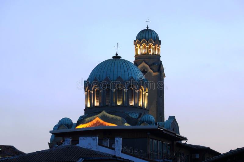 大教堂在黄昏的大特尔诺沃 免版税库存照片